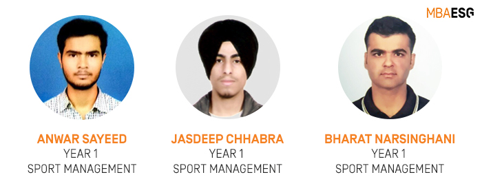 Sport Management students Anwar Sayeed Jasdeep Chhabra and Bharat Narsinghani - Sports Management Internship with Double PASS | MBA-ESG, India